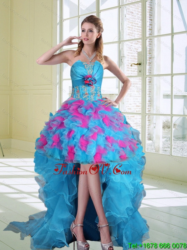 2015 High Low Strapless Ruffled Prom Dresses with Hand Made Flower