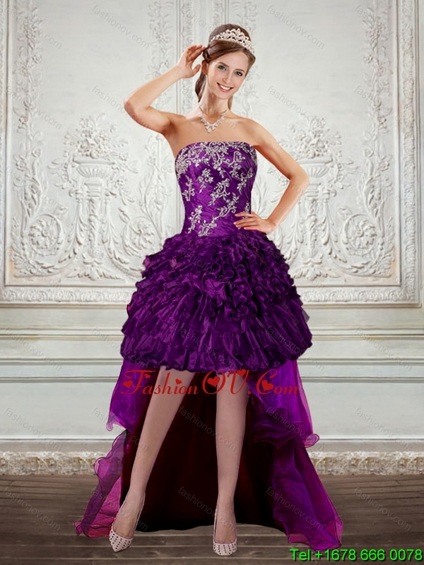 Dark Purple Strapless Prom Dresses with Embroidery and Ruffles