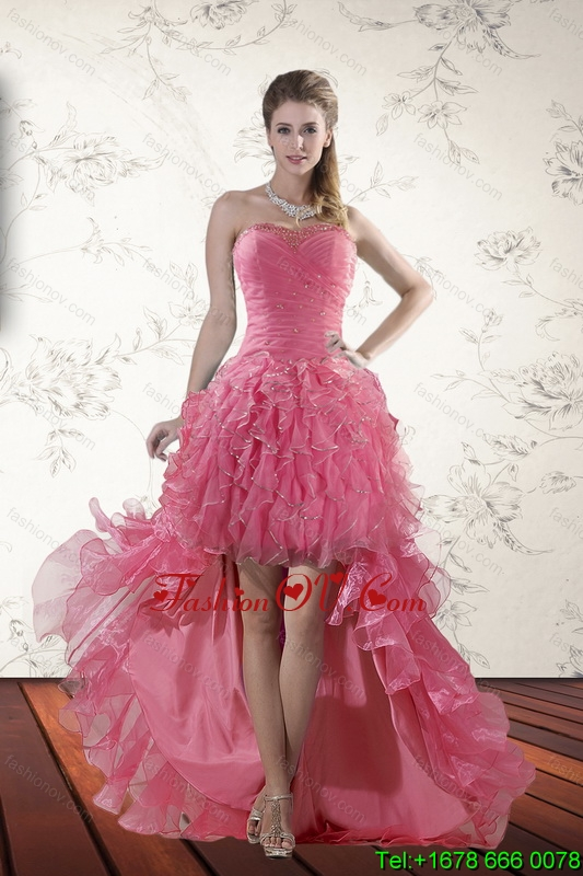Exclusive Beaded High Low 2015 Prom Dresses with Ruffles