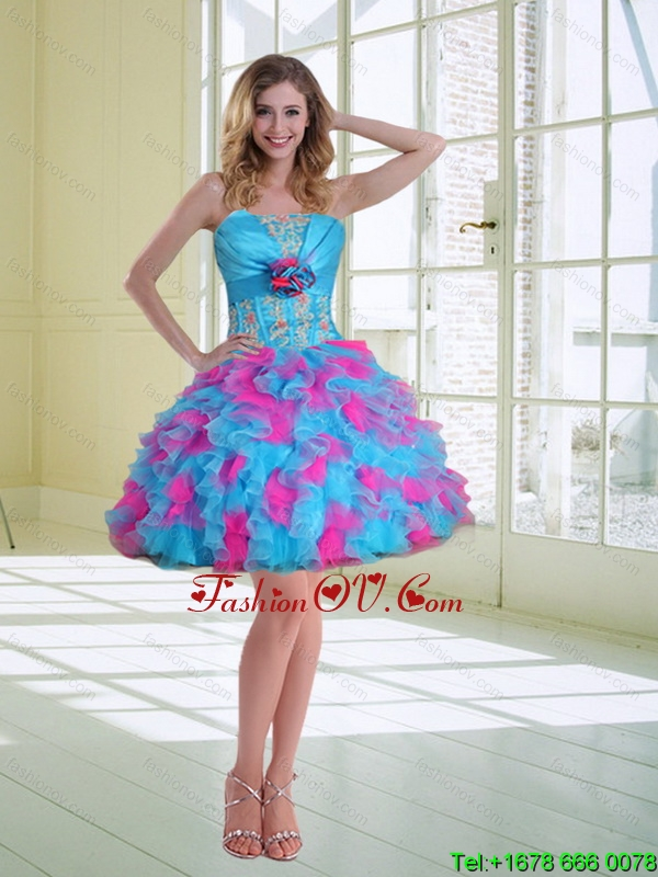 2015 Ball Gown Strapless Prom Dresses with Hand Made Flower and Ruffles