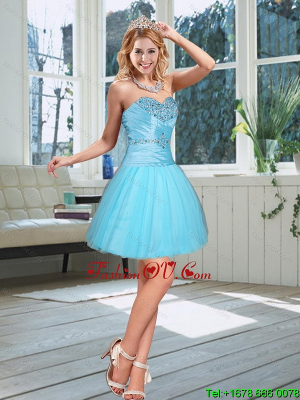 2015 New Style Baby Blue Sweetheart Prom Dress with Beading
