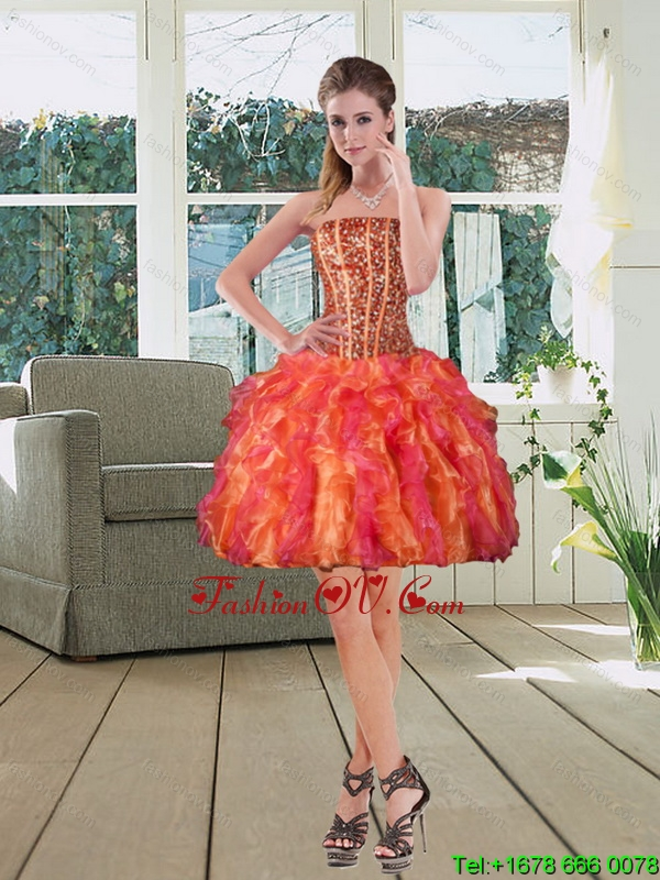 Ball Gown Strapless Multi Color 2015 Prom Dresses with Beading and Ruffles
