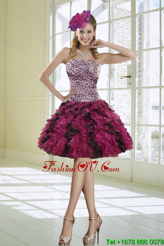 Ruffled Strapless Leopard Prom Dresses in Multi Color