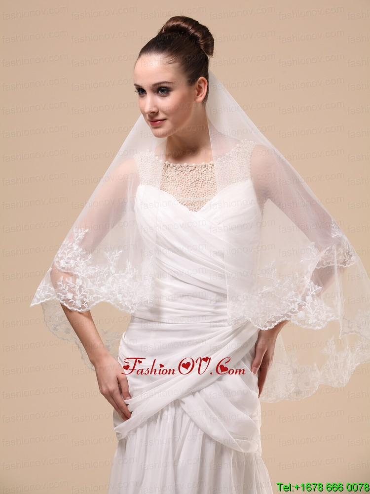 Lace Appliques Two-tier Tulle Popular Wedding Veil
