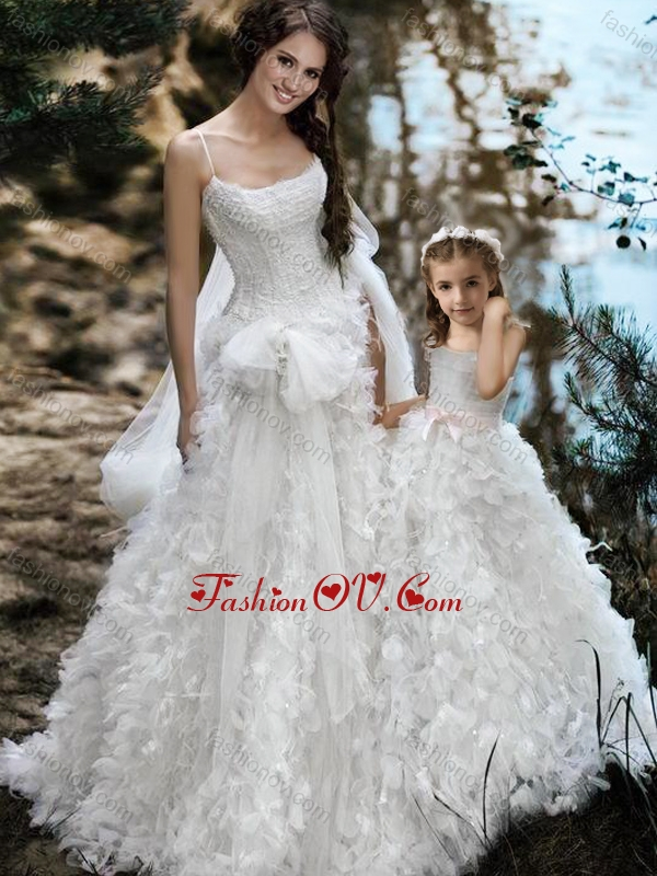 2016 Wonderful Spaghetti Straps Wedding Dresses with Ruffles and Beautiful Straps Flower Girl Dress with Bowknot
