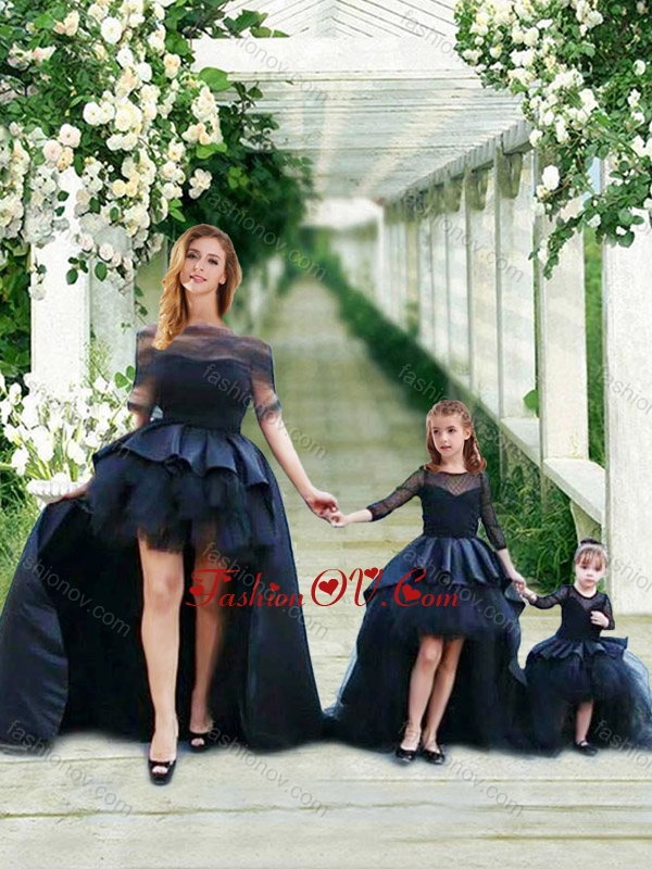 Unique High Low Navy Blue Prom Dress with Bateau and Gorgeous See Through 3/4 Length Sleeves Little Girl Dress with Scoop and New Style High Low Tobbler Dress with Long Sleeves