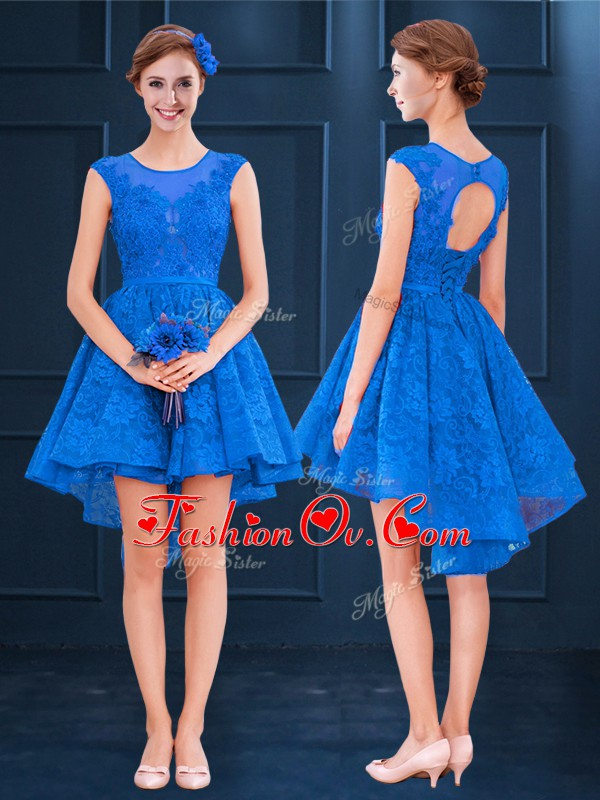 Adorable High Low A-line Sleeveless Blue Damas Dress Clasp Handle