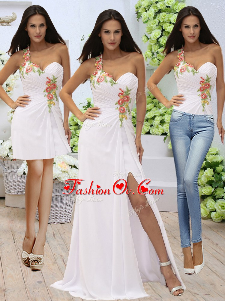 Romantic White Zipper One Shoulder Appliques Homecoming Dress Elastic Woven Satin Sleeveless