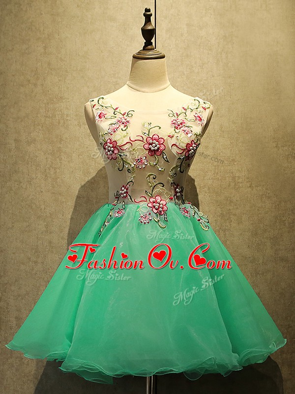 Hot Selling Apple Green Organza Lace Up Prom Party Dress Sleeveless Mini Length Appliques