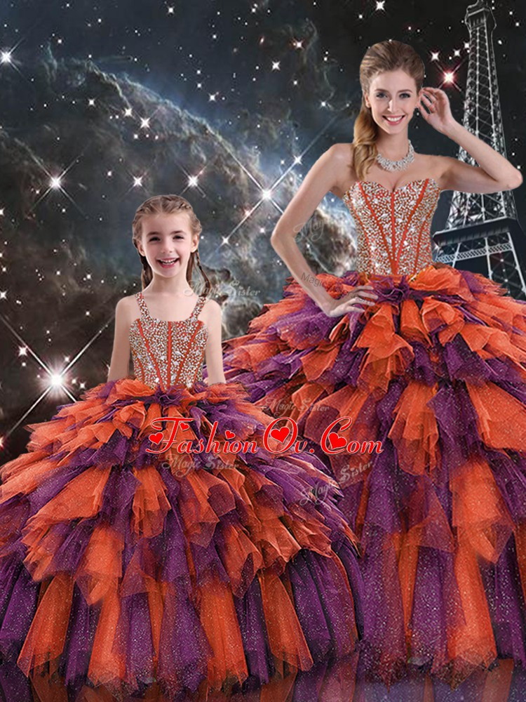 Vintage Floor Length Multi-color Quinceanera Dress Organza Sleeveless Beading and Ruffles and Ruffled Layers