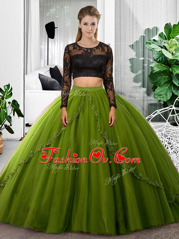 Shining Olive Green Long Sleeves Lace and Ruching Floor Length Ball Gown Prom Dress