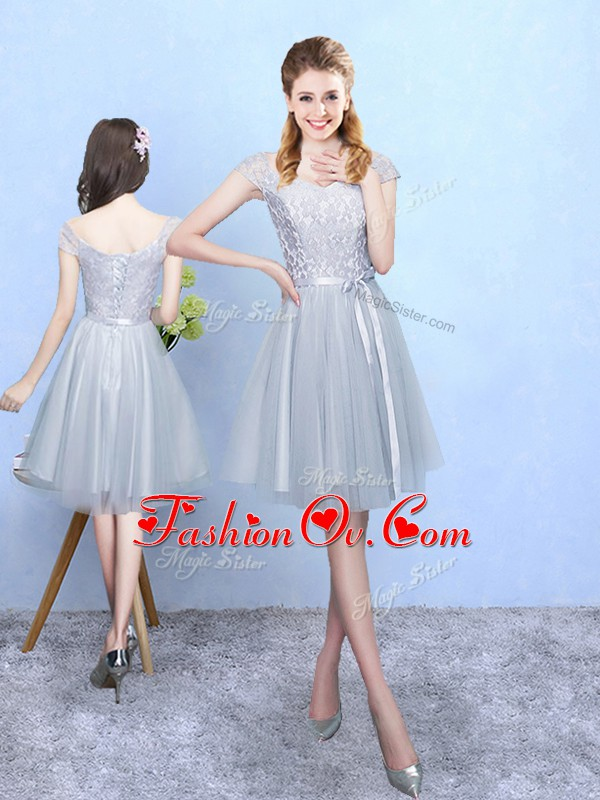 Silver V-neck Lace Up Lace Quinceanera Court Dresses Cap Sleeves