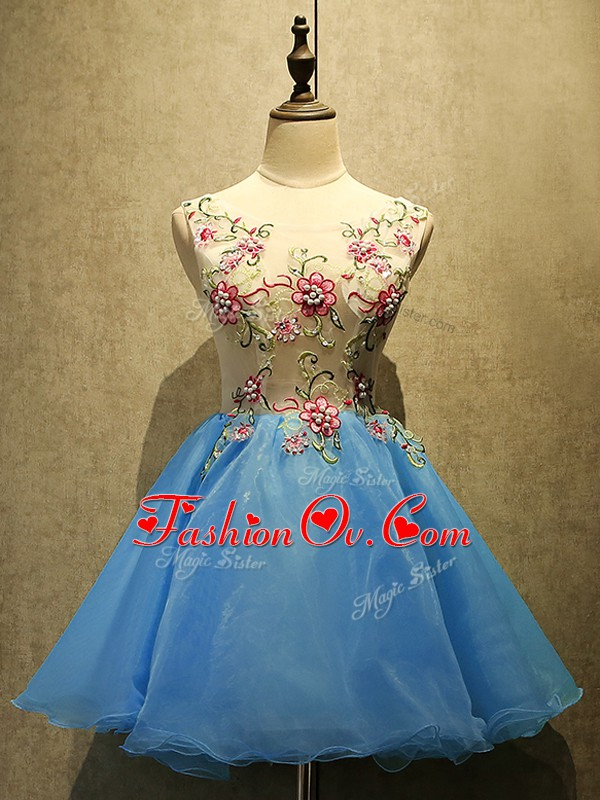 Clearance Organza Sleeveless Mini Length Prom Gown and Embroidery
