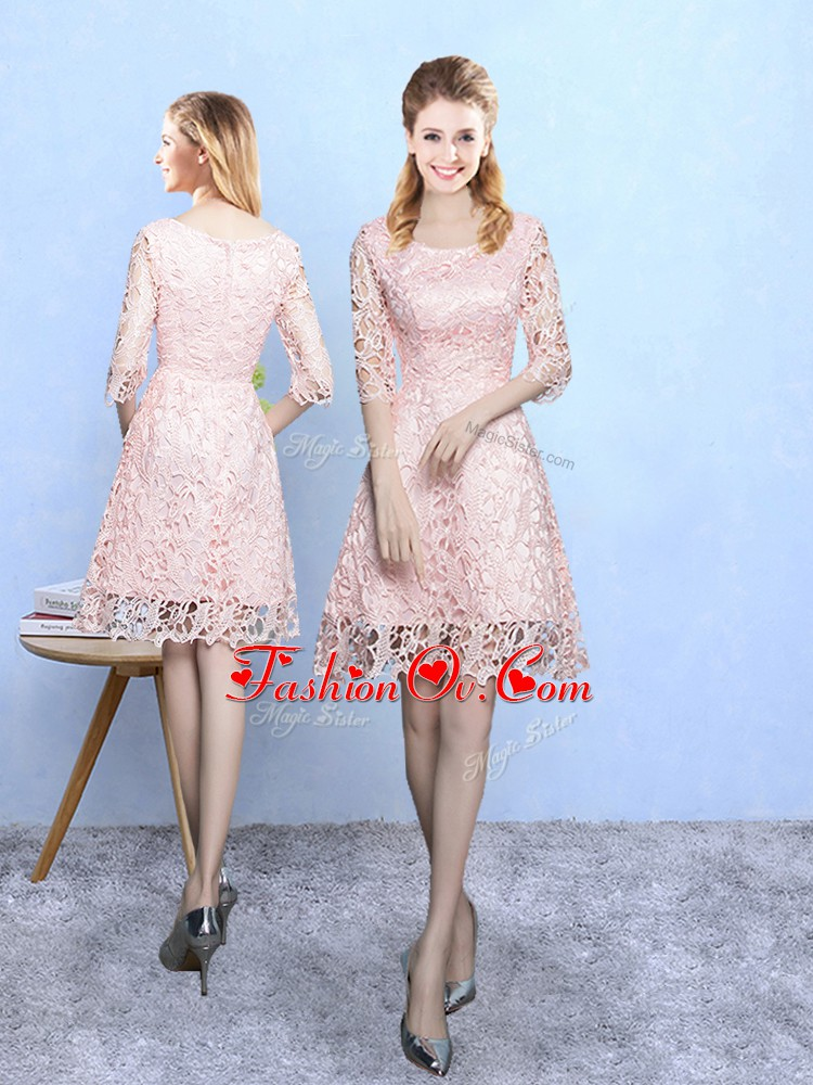 Custom Designed Baby Pink Half Sleeves Mini Length Lace Zipper Damas Dress
