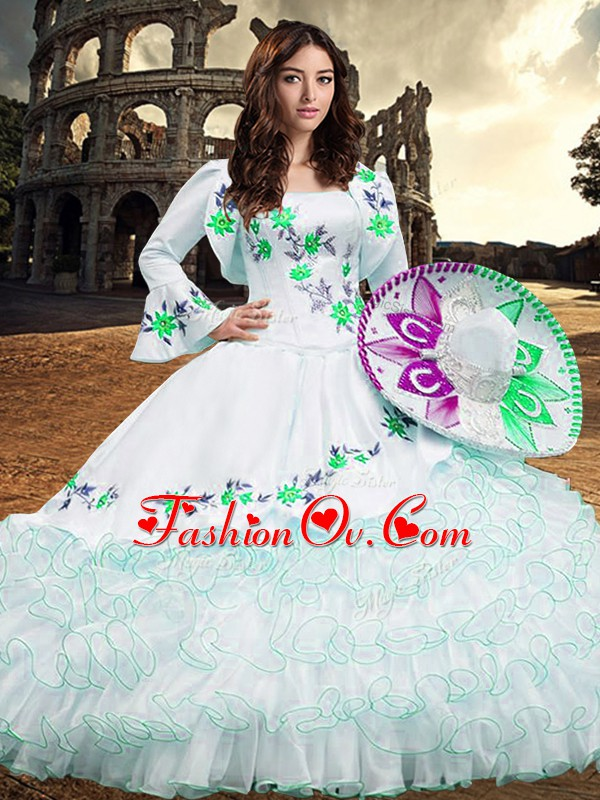 White Ball Gowns Square Long Sleeves Organza Floor Length Lace Up Embroidery and Ruffled Layers 15 Quinceanera Dress