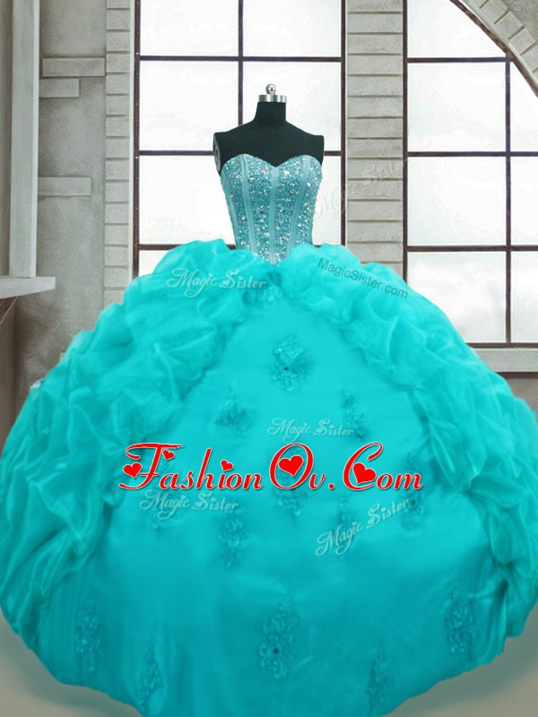 Charming Aqua Blue Organza Lace Up Quinceanera Dress Sleeveless Floor Length Beading and Appliques and Pick Ups