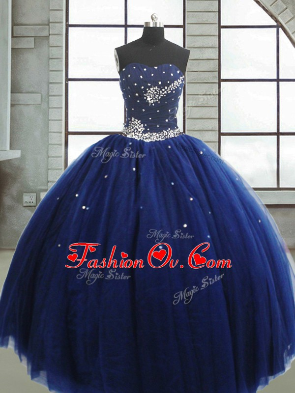 Graceful Floor Length Navy Blue Sweet 16 Dresses Tulle Sleeveless Beading