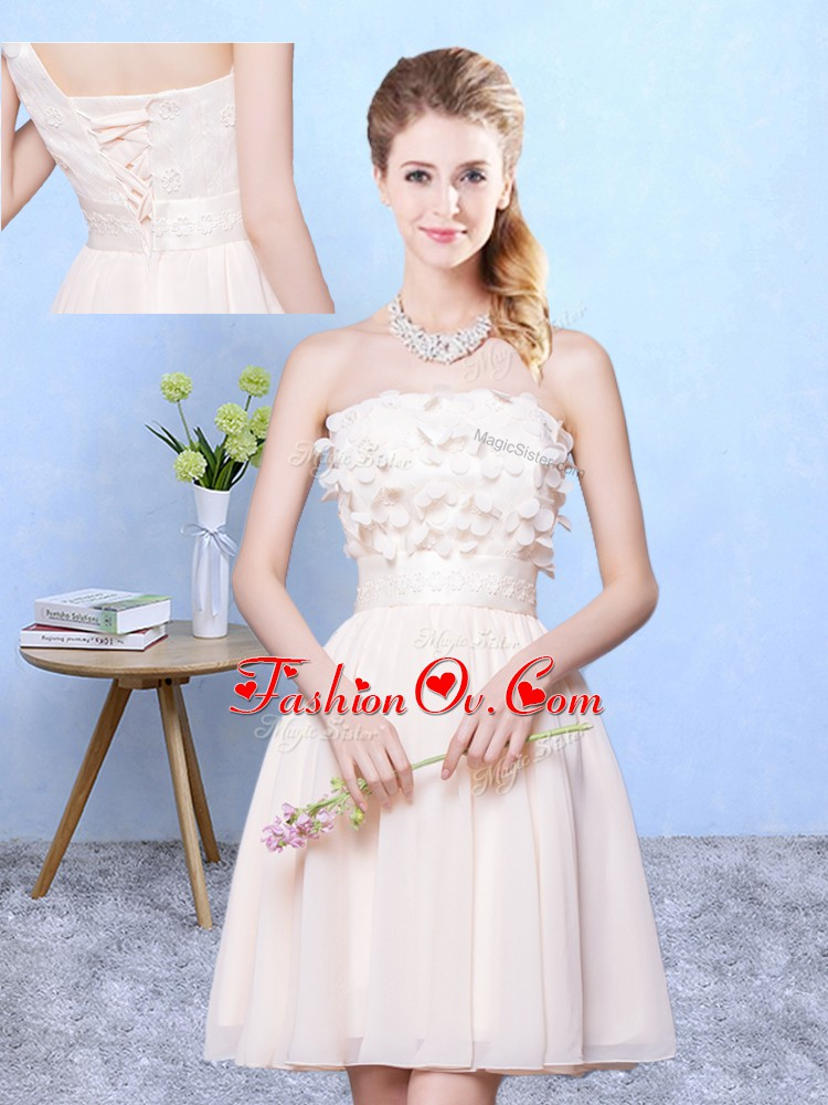 Sexy Strapless Sleeveless Lace Up Dama Dress for Quinceanera Champagne Chiffon