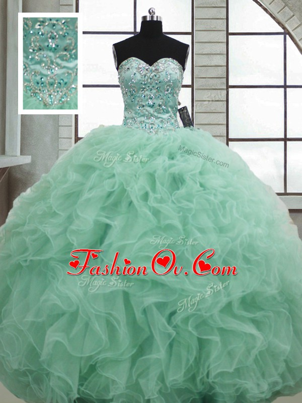 Great Apple Green Organza Lace Up Sweet 16 Quinceanera Dress Sleeveless Floor Length Beading and Ruffles
