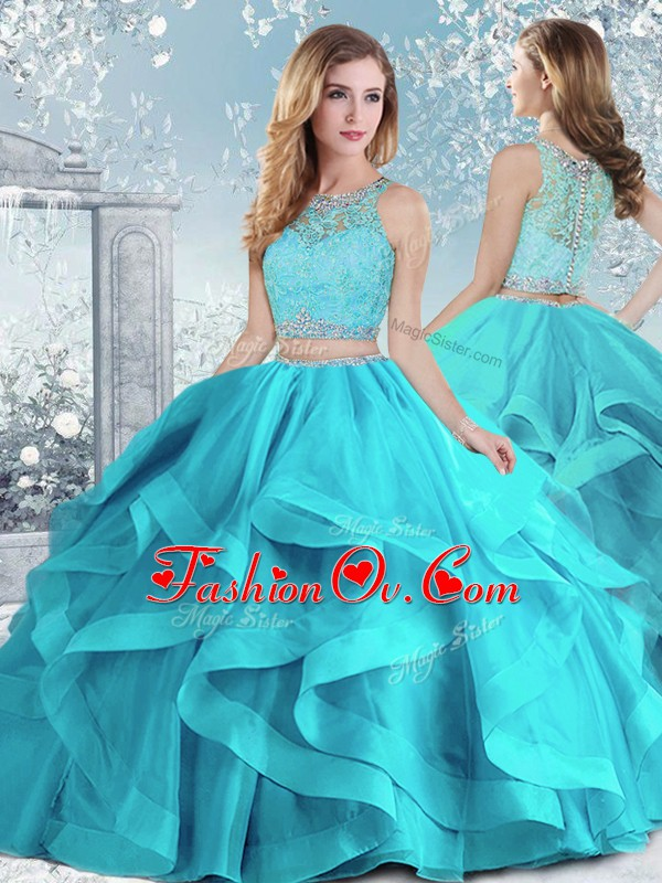 Fancy Aqua Blue Scoop Neckline Beading and Ruffles Quinceanera Dress Sleeveless Clasp Handle