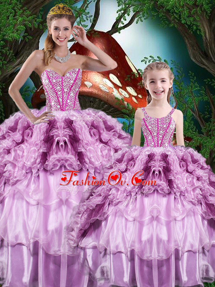 Multi-color Sleeveless Organza Lace Up Sweet 16 Dress for Military Ball and Sweet 16 and Quinceanera
