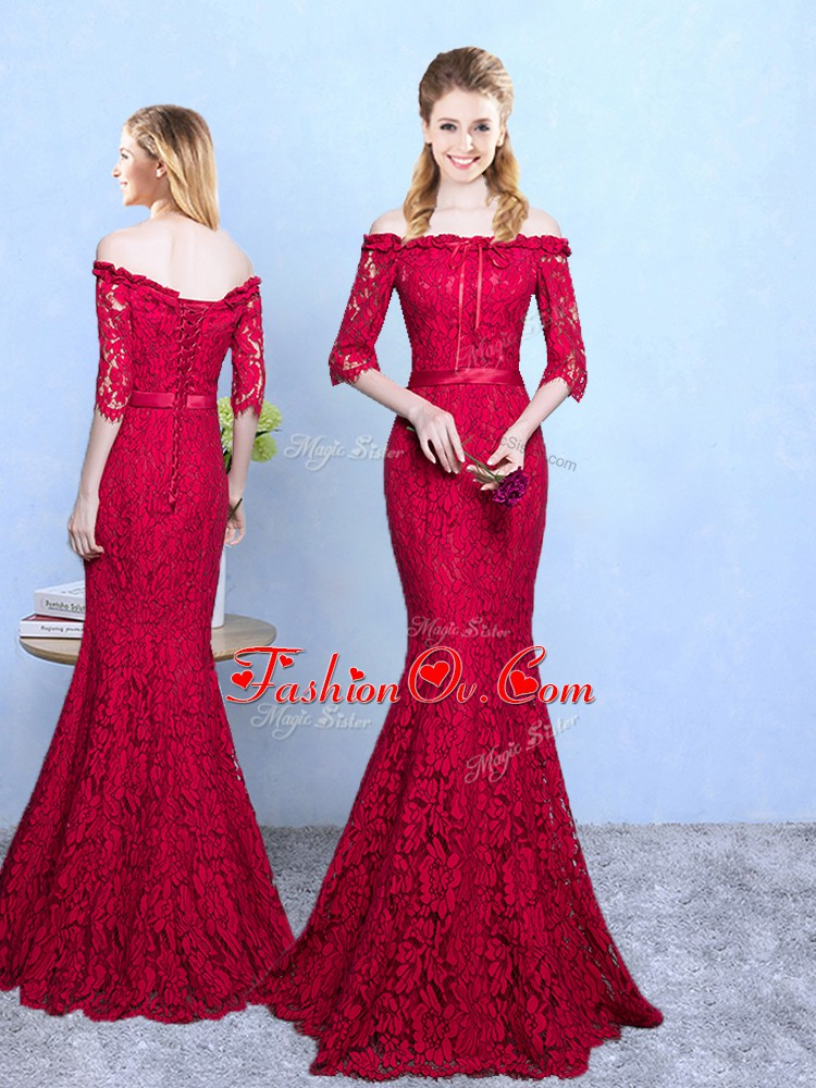 Floor Length Mermaid Half Sleeves Wine Red Dama Dress for Quinceanera Lace Up