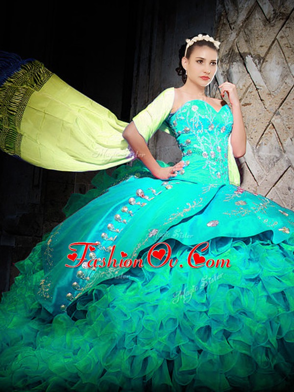 Turquoise Sleeveless Organza Brush Train Lace Up Sweet 16 Dresses for Military Ball and Sweet 16 and Quinceanera