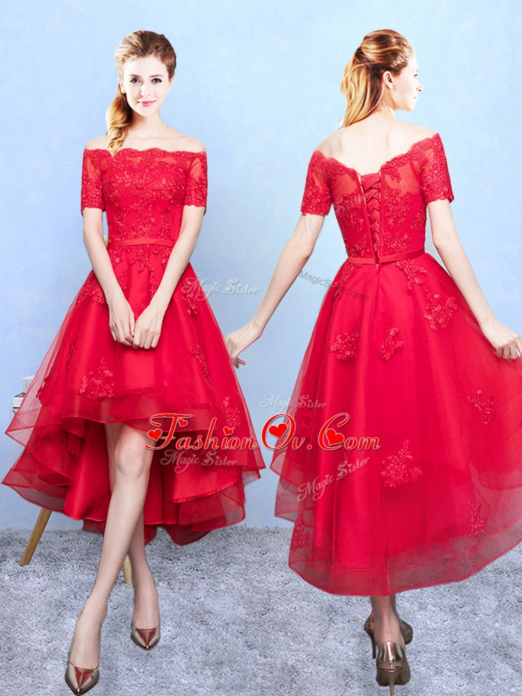 High Low Lace Up Court Dresses for Sweet 16 Wine Red for Prom and Party with Appliques