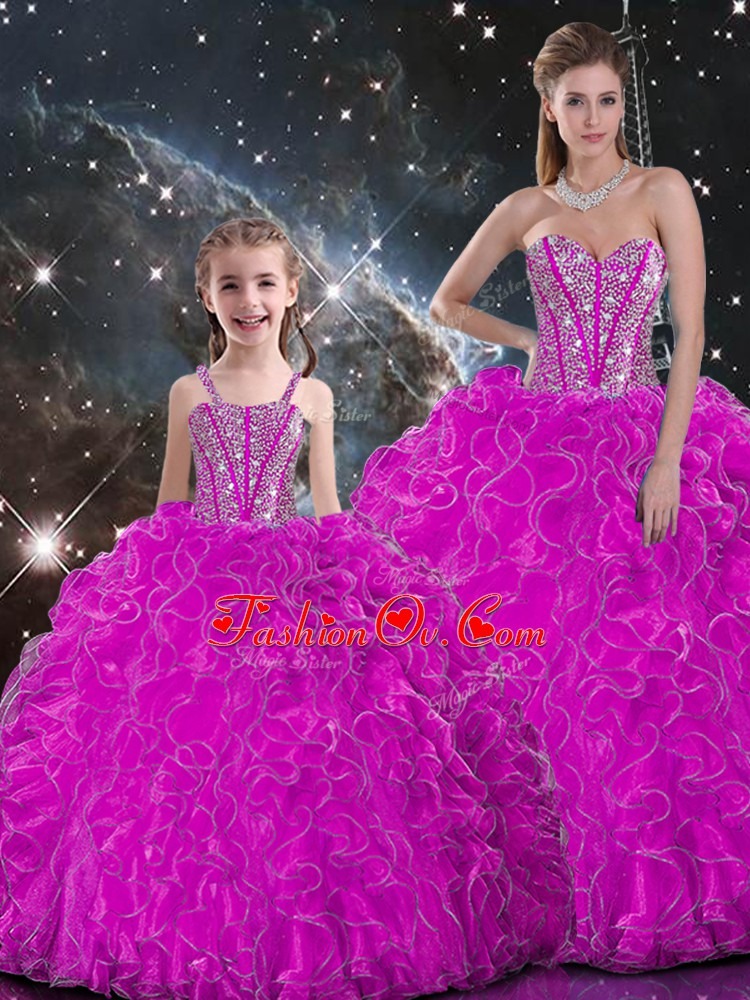 Exceptional Fuchsia Lace Up Sweetheart Beading and Ruffles Quinceanera Dresses Organza Sleeveless