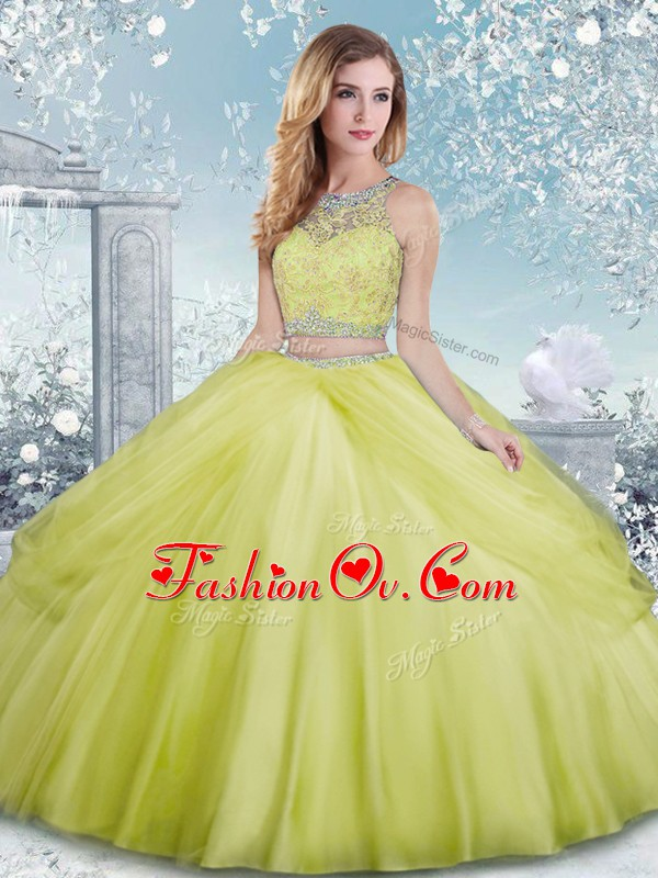 Clearance Yellow Green Clasp Handle Vestidos de Quinceanera Beading Sleeveless Floor Length