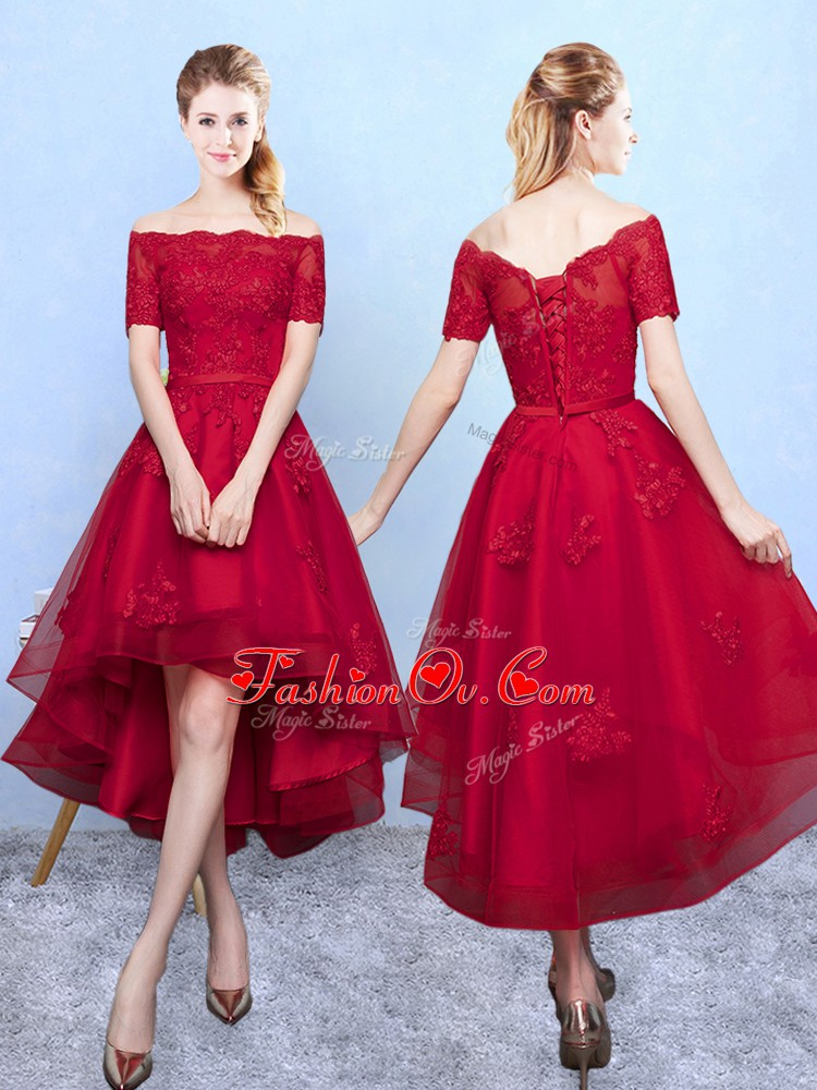 Wine Red Short Sleeves Appliques High Low Quinceanera Dama Dress