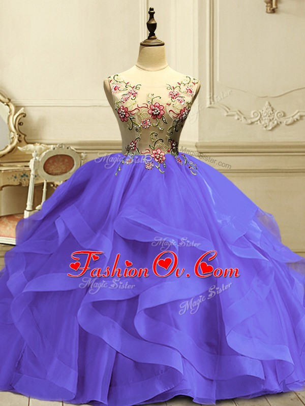 Top Selling Floor Length Ball Gowns Sleeveless Lavender Quinceanera Gowns Lace Up
