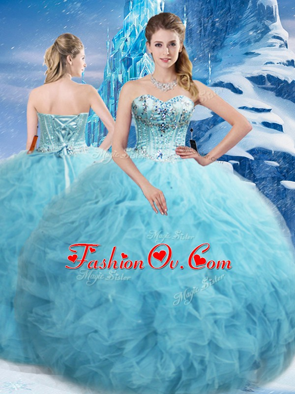 Luxury Sleeveless Tulle Floor Length Lace Up Sweet 16 Dresses in Aqua Blue with Beading and Pick Ups