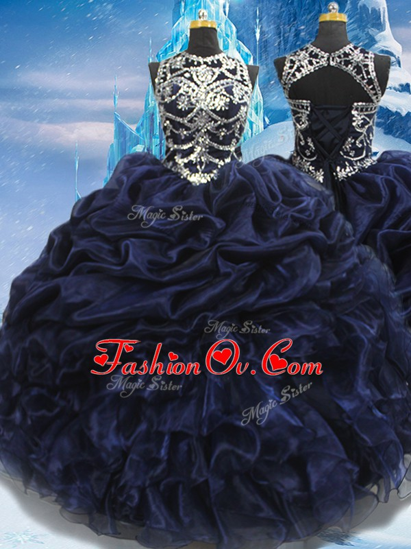 Taffeta High-neck Sleeveless Lace Up Appliques and Ruffles and Pick Ups Sweet 16 Dresses in Navy Blue