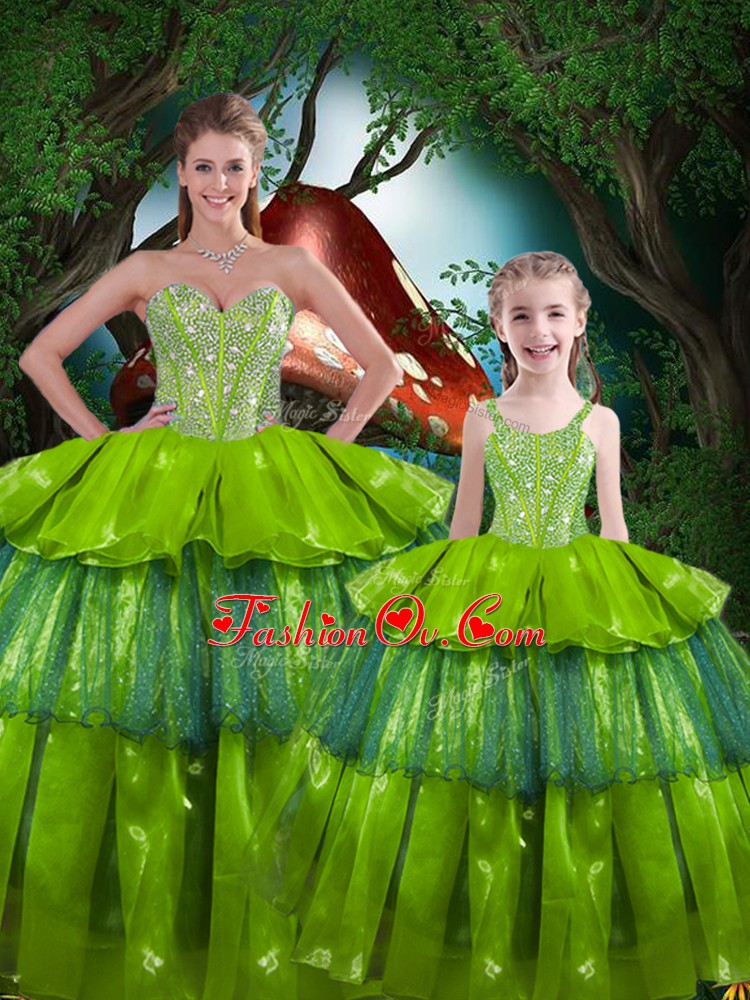 Olive Green Sleeveless Organza Lace Up Ball Gown Prom Dress for Military Ball and Sweet 16 and Quinceanera