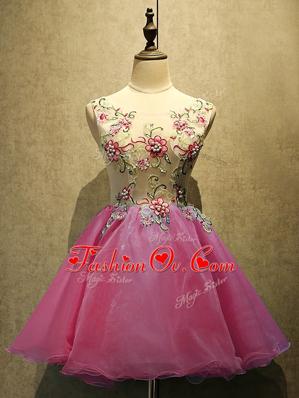 Sleeveless Mini Length Embroidery Lace Up Prom Evening Gown with Hot Pink