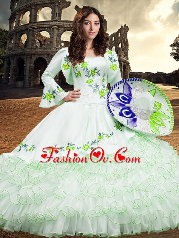 Embroidery and Ruffled Layers Quinceanera Dresses White Lace Up Long Sleeves Floor Length
