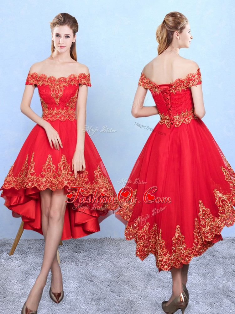 Decent A-line Quinceanera Court of Honor Dress Wine Red Off The Shoulder Tulle Sleeveless High Low Lace Up