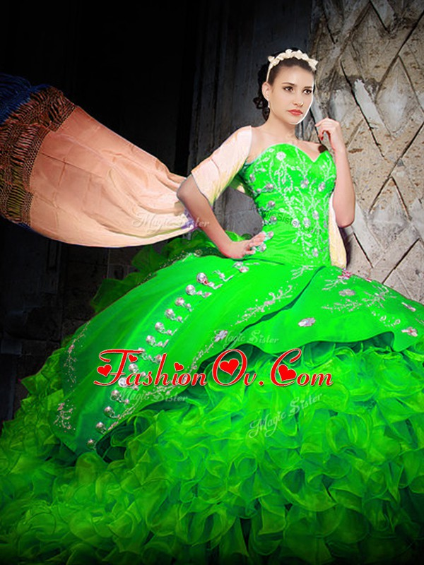 Fantastic Green Sleeveless With Train Embroidery and Ruffles Lace Up Quinceanera Gowns