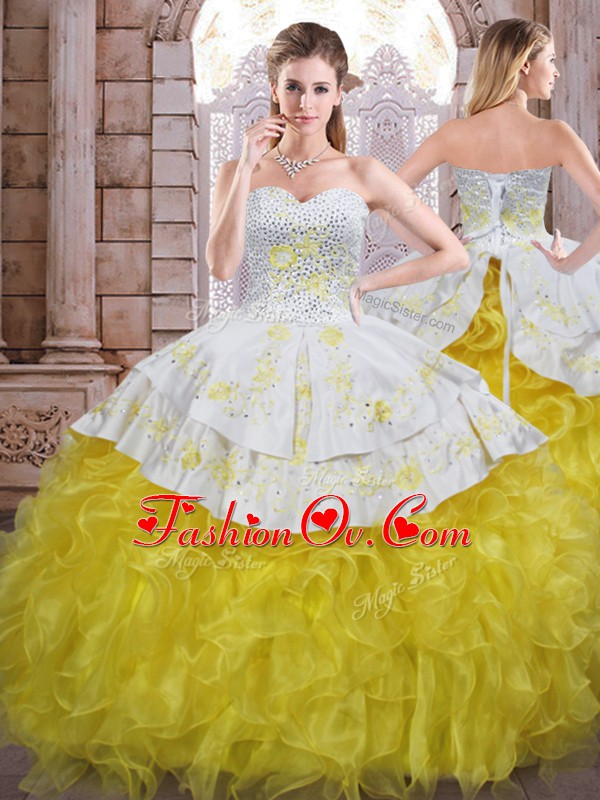 Yellow And White Ball Gowns Beading and Appliques and Ruffles 15th Birthday Dress Lace Up Organza Sleeveless Floor Length