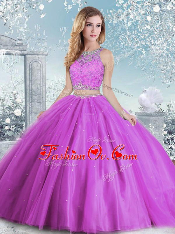 Scoop Sleeveless Sweet 16 Dresses Floor Length Beading and Sequins Lilac Tulle