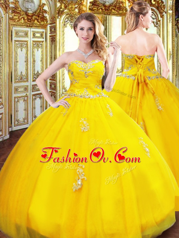 Pretty Sweetheart Sleeveless Lace Up Sweet 16 Quinceanera Dress Gold Organza