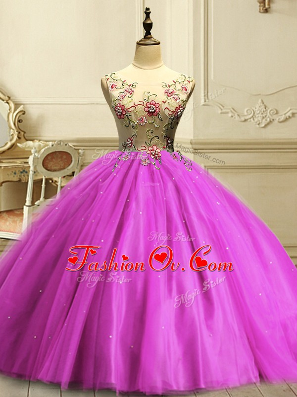 Traditional Fuchsia Tulle Lace Up Sweet 16 Dresses Sleeveless Floor Length Appliques and Sequins