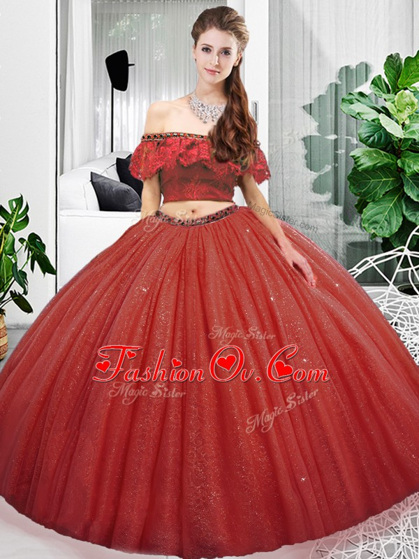 Coral Red Quinceanera Dresses Military Ball and Sweet 16 and Quinceanera with Lace Off The Shoulder Sleeveless Lace Up