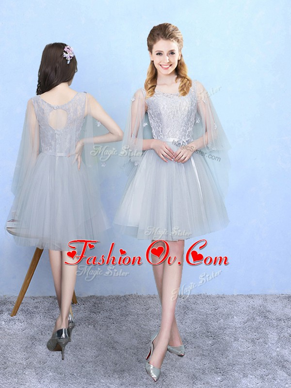 Fitting Silver Lace Up Square Lace Dama Dress Tulle Half Sleeves