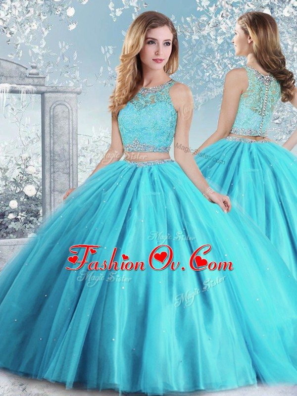 Super Aqua Blue Sleeveless Tulle Clasp Handle Sweet 16 Quinceanera Dress for Military Ball and Sweet 16