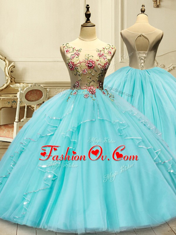 Admirable Aqua Blue Lace Up Scoop Appliques Sweet 16 Quinceanera Dress Tulle Sleeveless