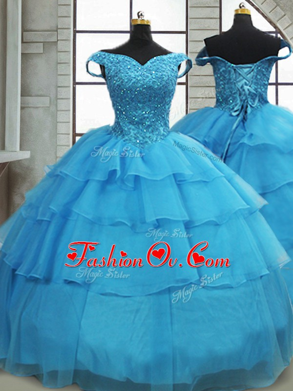 Baby Blue Lace Up Quinceanera Gown Beading and Ruffled Layers Sleeveless Brush Train
