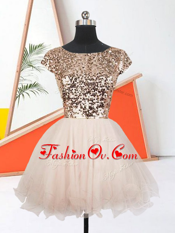 Peach Lace Up Dress for Prom Sequins Short Sleeves Mini Length