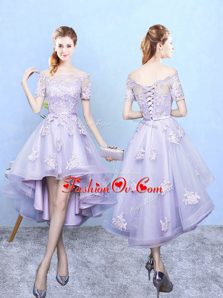 Lace Damas Dress Lavender Lace Up Short Sleeves High Low